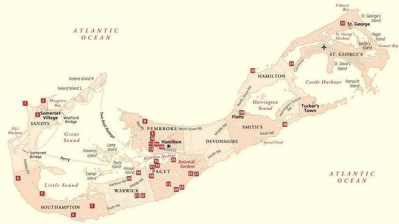 Bermuda Hotel Map