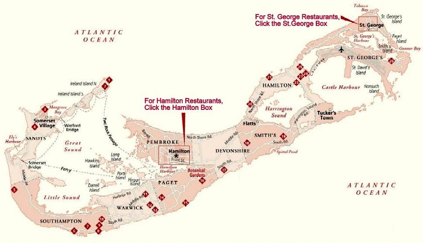 Bermuda Dining Restaurants Map Cartography Courtesy Of Frommer S Travel Guides