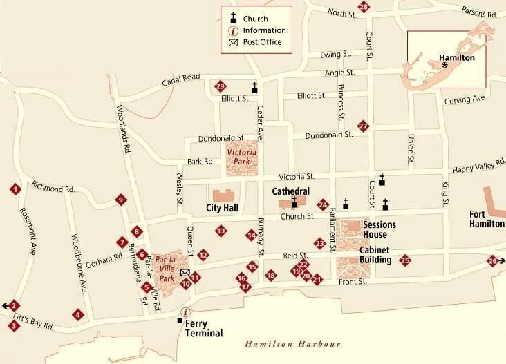 Hamilton Bermuda Dining Map